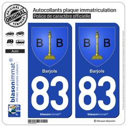 2 Autocollants plaque immatriculation Auto 83 Barjols - Blason