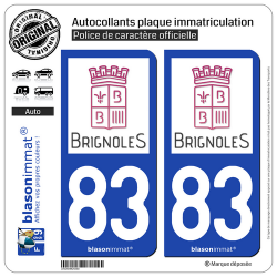 2 Autocollants plaque immatriculation Auto 83 Brignoles - Ville