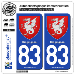 2 Autocollants plaque immatriculation Auto 83 Draguignan - Armoiries