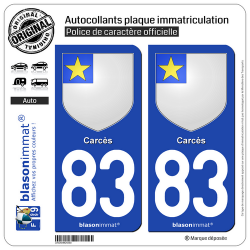 2 Autocollants plaque immatriculation Auto 83 Carcès - Armoiries