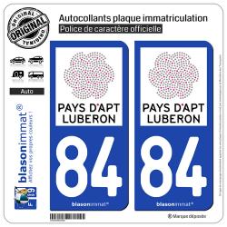 2 Autocollants plaque immatriculation Auto 84 Apt - Tourisme