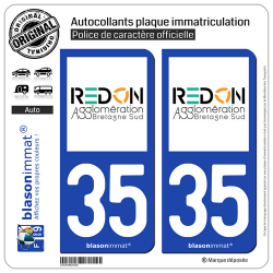 2 Autocollants plaque immatriculation Auto 35 Redon - Agglo