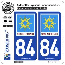 2 Autocollants plaque immatriculation Auto 84 PACA - Terre Méditerranée