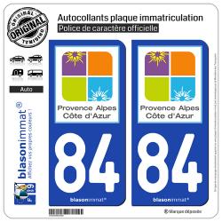 2 Autocollants plaque immatriculation Auto 84 PACA - Tourisme