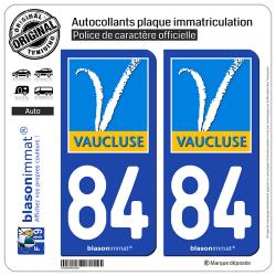 2 Autocollants plaque immatriculation Auto 84 Vaucluse - Département