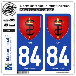 2 Autocollants plaque immatriculation Auto 84 Apt - Armoiries