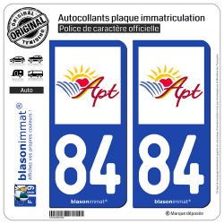 2 Autocollants plaque immatriculation Auto 84 Apt - Ville