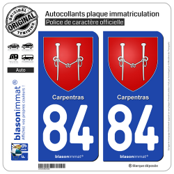 2 Autocollants plaque immatriculation Auto 84 Carpentras - Armoiries