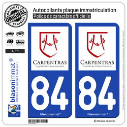 2 Autocollants plaque immatriculation Auto 84 Carpentras - Ville