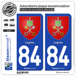 2 Autocollants plaque immatriculation Auto 84 Lagnes - Armoiries