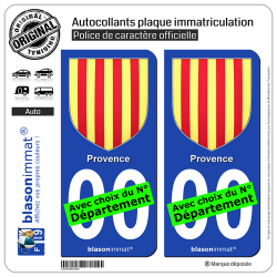 2 Autocollants plaque immatriculation Auto : Provence - Armoiries