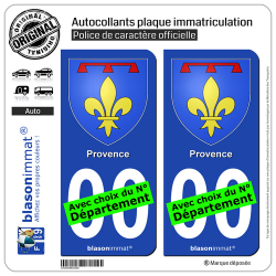 2 Autocollants plaque immatriculation Auto : Provence - Armoiries II
