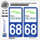 2 Autocollants plaque immatriculation Auto 68 Thur Doller - Pays