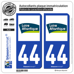 2 Autocollants plaque immatriculation Auto 44 Loire-Atlantique - Département