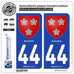 2 Autocollants plaque immatriculation Auto 44 Ancenis - Armoiries