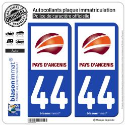 2 Autocollants plaque immatriculation Auto 44 Ancenis - Agglo