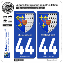 2 Autocollants plaque immatriculation Auto 44 Châteaubriant - Armoiries