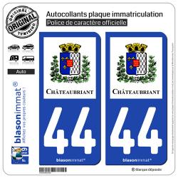 2 Autocollants plaque immatriculation Auto 44 Châteaubriant - Ville