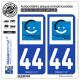2 Autocollants plaque immatriculation Auto 44 Châteaubriant - Agglo