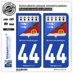 2 Autocollants plaque immatriculation Auto 44 Montoir-de-Bretagne - Armoiries