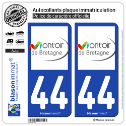 2 Autocollants plaque immatriculation Auto 44 Montoir-de-Bretagne - Commune