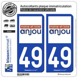 2 Autocollants plaque immatriculation Auto 49 Maine-et-Loire - Département