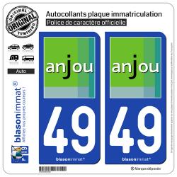 2 Autocollants plaque immatriculation Auto 49 Maine-et-Loire - Tourisme