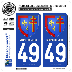 2 Autocollants plaque immatriculation Auto 49 Maine-et-Loire - Armoiries