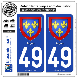 2 Autocollants plaque immatriculation Auto 49 Anjou - Armoiries