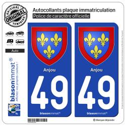 2 Autocollants plaque immatriculation Auto 49 Anjou - Armoiries