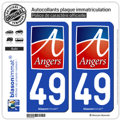 2 Autocollants plaque immatriculation Auto 49 Angers - Ville