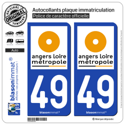 2 Autocollants plaque immatriculation Auto 49 Angers - Agglo
