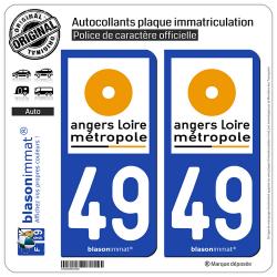 2 Autocollants plaque immatriculation Auto 49 Angers - Agglo