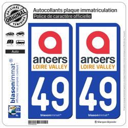 2 Autocollants plaque immatriculation Auto 49 Angers - Tourisme