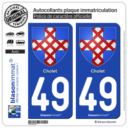 2 Autocollants plaque immatriculation Auto 49 Cholet - Armoiries