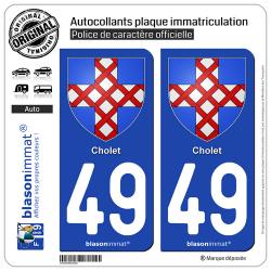 2 Autocollants plaque immatriculation Auto 49 Cholet - Armoiries