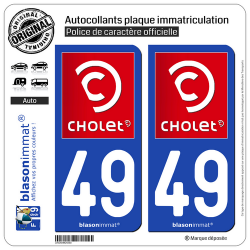 2 Autocollants plaque immatriculation Auto 49 Cholet - Ville