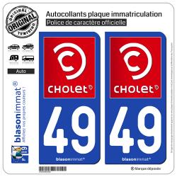 2 Autocollants plaque immatriculation Auto 49 Cholet - Ville