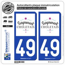 2 Autocollants plaque immatriculation Auto 49 Cholet - Tourisme
