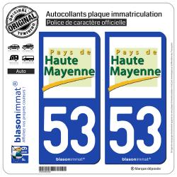 2 Autocollants plaque immatriculation Auto 53 Haute Mayenne - Pays