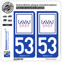 2 Autocollants plaque immatriculation Auto 53 Laval - Agglo