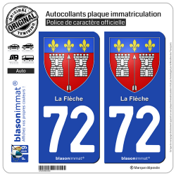 2 Autocollants plaque immatriculation Auto 72 La Flèche - Armoiries