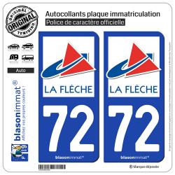 2 Autocollants plaque immatriculation Auto 72 La Flèche - Ville