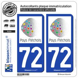 2 Autocollants plaque immatriculation Auto 72 La Flèche - Pays