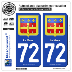 2 Autocollants plaque immatriculation Auto 72 Le Mans - Armoiries