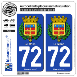 2 Autocollants plaque immatriculation Auto 72 Le Mans - Armoiries II