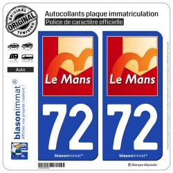 2 Autocollants plaque immatriculation Auto 72 Le Mans - Ville