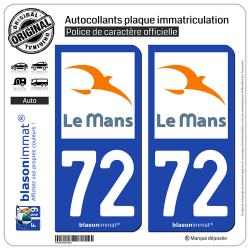 2 Autocollants plaque immatriculation Auto 72 Le Mans - Agglo