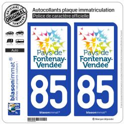 2 Autocollants plaque immatriculation Auto 85 Fontenay-le-Comte - Pays