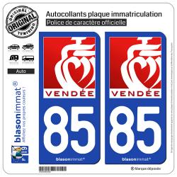 2 Autocollants plaque immatriculation Auto 85 Vendée - Tourisme II